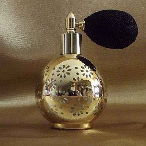 Vaporisateur de parfum poire modèle rond effet miroir plaquage métal or 80 ml vide et rechargeable Poire rétro courte - Au p...