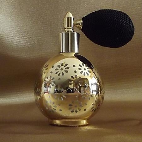 Vaporisateur de parfum poire modèle rond effet miroir plaquage métal or 80 ml vide et rechargeable