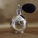 Vaporisateur de parfum poire modèle rond effet miroir plaquage métal argent 80 ml vide et rechargeable