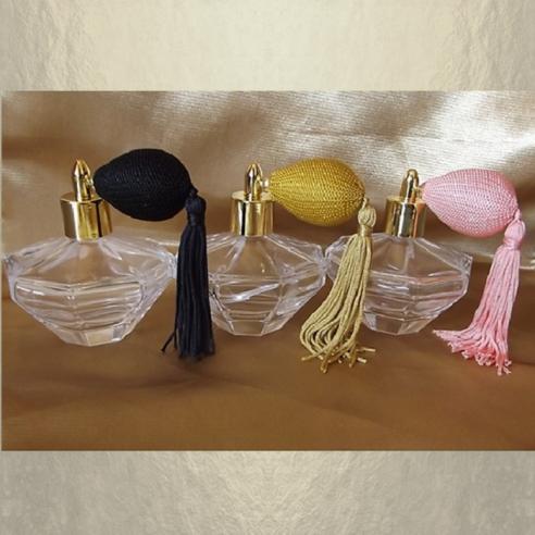 Vaporisateur de parfum poire courte pompon modèle diamant poire 100 ml vide et rechargeable Poire rétro courte