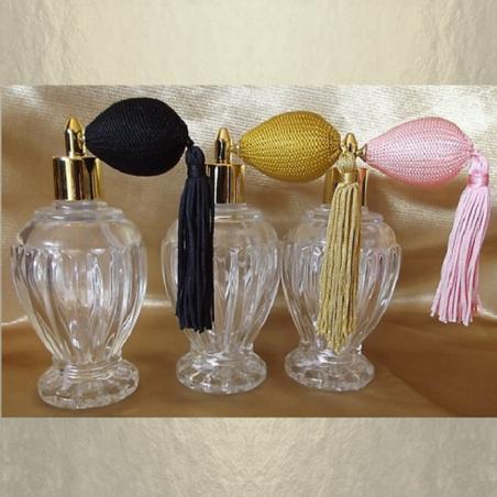 Vaporisateur de parfum poire courte pompon modèle boule sur pied poire 110 ml vide et rechargeable