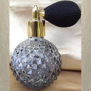 Vaporisateur de parfum poire courte noire 110 ml gris fumé vide et rechargeable Poire rétro courte - Au pays des senteurs