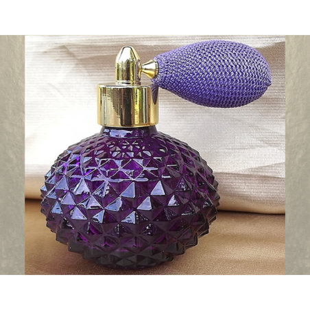 Vaporisateur de parfum poire courte parme 110 ml verre violet à facettes vide et rechargeable