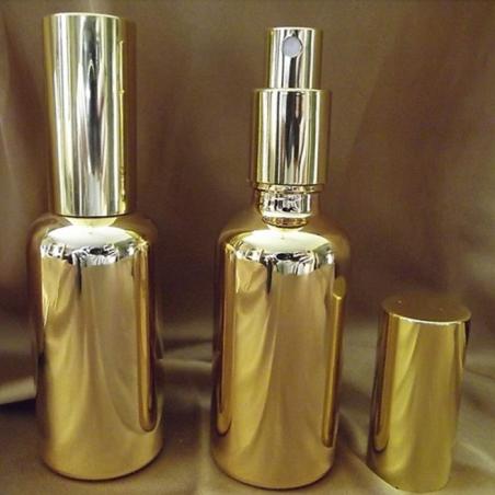 Vaporisateur de parfum or vide et rechargeable en verre effet miroir