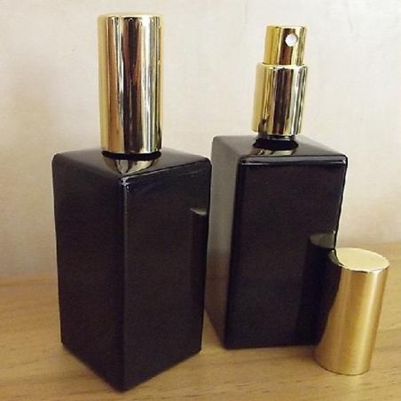 Vaporisateur de parfum en verre noir rectangle 100 ml vide et rechargeable