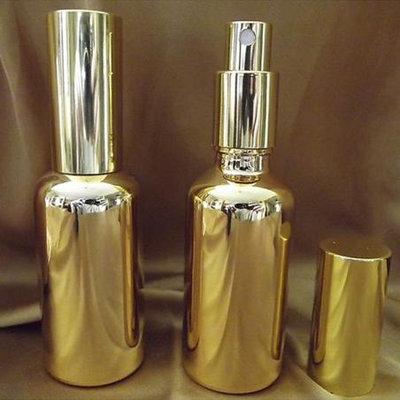 Vaporisateur de parfum verre effet miroir or 100 ml vide et rechargeable