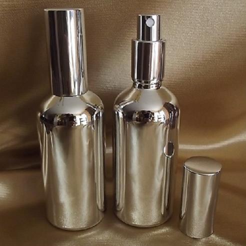 Vaporisateur de parfum verre effet miroir argent 100 ml vide et rechargeable Atomiseur classique  - Au pays des senteurs