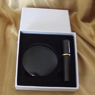 Set  miroir de sac + vaporisateur de parfum de sac rechargeable métal noir  - 1