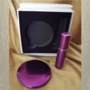 Set  miroir de sac + vaporisateur de parfum de sac rechargeable métal parme