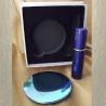 Set  miroir de sac + vaporisateur de parfum de sac rechargeable métal bleu