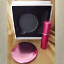 Set  miroir de sac + vaporisateur de parfum de sac rechargeable métal rose