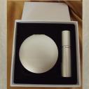 Set  miroir de sac + vaporisateur de parfum de sac rechargeable métal argent