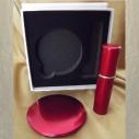 Set  miroir de sac + vaporisateur de parfum de sac rechargeable métal rouge