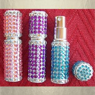 Vaporisateur de parfum de sac strass 6 ml parme vide et rechargeable  - 1