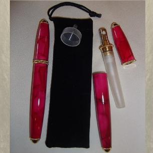 Vaporisateur de parfum forme stylo en métal rouge rosé 3 ml De sac - de poche - Au pays des senteurs