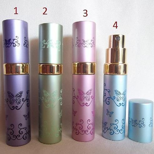 Vaporisateur de parfum de sac 5 ml en métal frise papillon vide et rechargeable  - 1