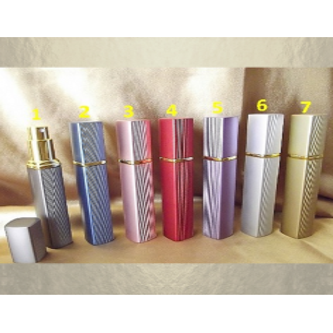 Vaporisateur de parfum en métal , face lisse et striées liseré couleur or 12 ml vide et rechargeable De sac - de poche - Au p...
