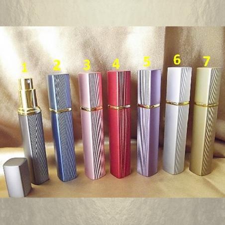 Vaporisateur de parfum en métal , face lisse et striées liseré couleur or 12 ml vide et rechargeable