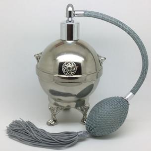 Vaporisateur de parfum poire grise antique boule sur pied coque effet miroir argent 125 ml artisanal Vaporisateurs de parfum