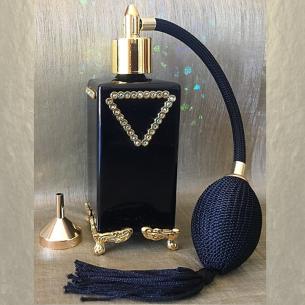 Vaporisateur de parfum poire CRISTAL DE SWAROVSKI sur pied verre noir artisanal or 100 ml Artisanal SWAROVSKI