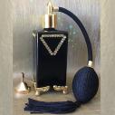 Vaporisateur de parfum poire CRISTAL DE SWAROVSKI sur pied verre noir artisanal or 100 ml