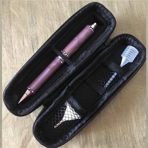 Stylo CRISTAL DE SWAROVSKI FUCHSIA AB, stylo bille avec vaporisateur de parfum duo chrome artisanal  - 4