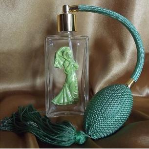 vaporisateur de parfum en verre vide et rechargeable décoration artisanale camée en porcelaine froide  - 1