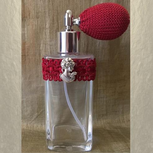 Vaporisateur de parfum poire courte bordeaux antique et camé décoration artisanale Artisanal romantique