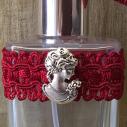 Vaporisateur de parfum poire courte bordeaux antique et camé décoration artisanale