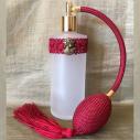 Vaporisateur de parfum poire longue bordeaux antique  et camé décoration artisanale