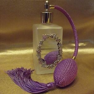 Vaporisateur de parfum atomiser poire en verre rectangle givré décoration artisanale miroir  - 1