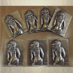 Vaporisateur de parfum en verre carré 100 ml décoration artisanale estampe femme bronze Autres décorations artisanales