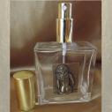 Vaporisateur de parfum en verre carré 100 ml décoration artisanale estampe femme bronze