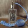 Vaporisateur de parfum poire bleu, décoration estampe artisanale
