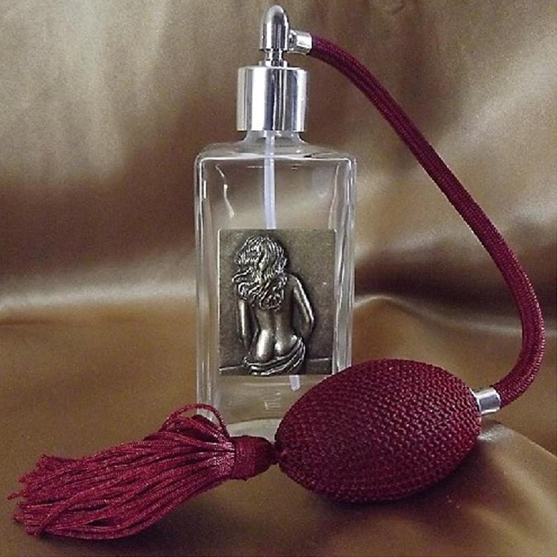 Vaporisateur de parfum poire bordeaux, décoration estampe artisanale