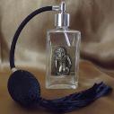 Vaporisateur de parfum poire noire, décoration estampe artisanale