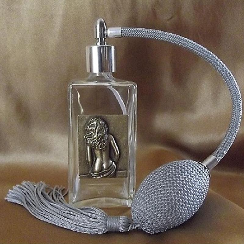 Vaporisateur de parfum poire grise, décoration estampe artisanale