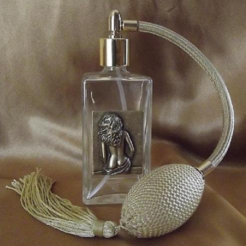 Vaporisateur de parfum poire or, décoration estampe artisanale