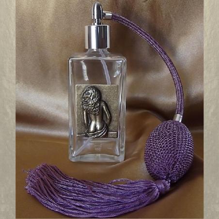 Vaporisateur de parfum poire, en verre 100 ml décoration artisanale estampe femme bronze