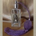 Vaporisateur de parfum poire parme, décoration estampe artisanale