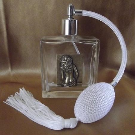 Vaporisateur de parfum poire en verre carré 100 ml décoration artisanale estampe femme bronze Autres décorations artisanales ...