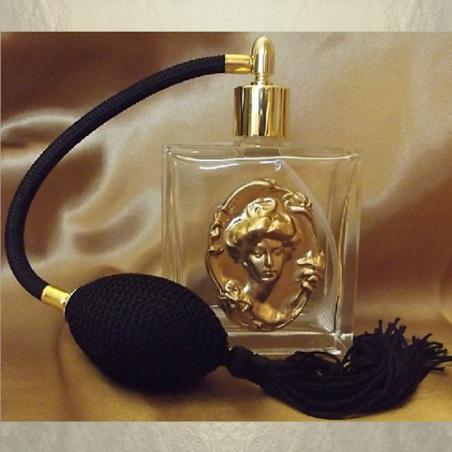 Vaporisateur de parfum poire en verre 100 ml décoration artisanale estampe visage bronze