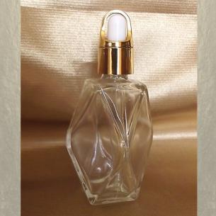 Flacon sérums et huiles cheveux corps vide et rechargeable avec pipette compte gouttes facettes  - 1