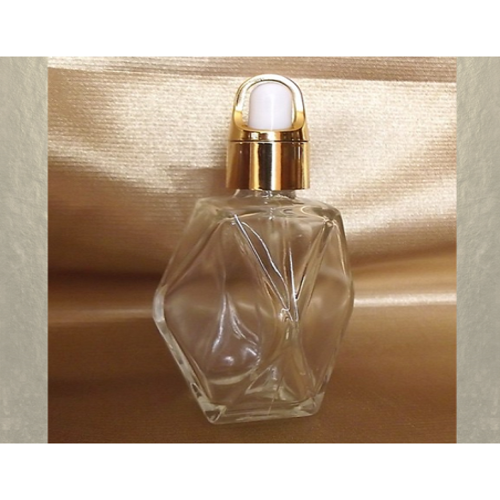 Flacon sérums et huiles cheveux corps vide et rechargeable avec pipette compte gouttes facettes