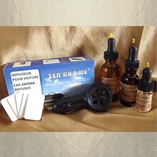 Diffuseur d'huiles pour voiture prise allume cigare noir avec HUILES AROMATIQUES  - 1