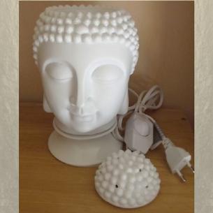 Lampe diffuseur de parfum électrique pour galets cire en céramique bouddha blanche  - 1