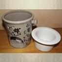 Diffuseur céramique pour galets cire / tartelettes en cire / pastilles en cire, taupe frise