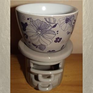Diffuseur céramique pour galets cire / tartelettes en cire / pastilles en cire, taupe fleur  - 1