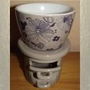 Diffuseur céramique pour galets cire / tartelettes en cire / pastilles en cire, taupe fleur