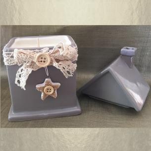 Bougie décorative cire de soja naturelle modèle cottage céramique artisanale  - 1
